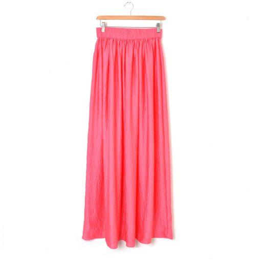 Falda larga coral Mango
