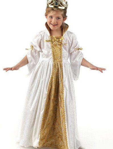 Disfraz princesa Alice blanca y dorada infantil