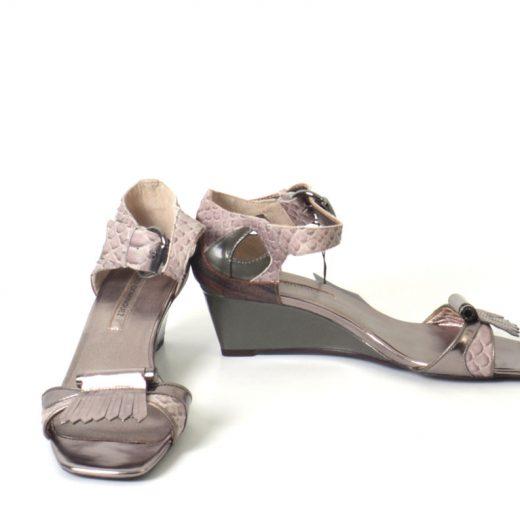 sandalias adolfo dominguez serpiente plata