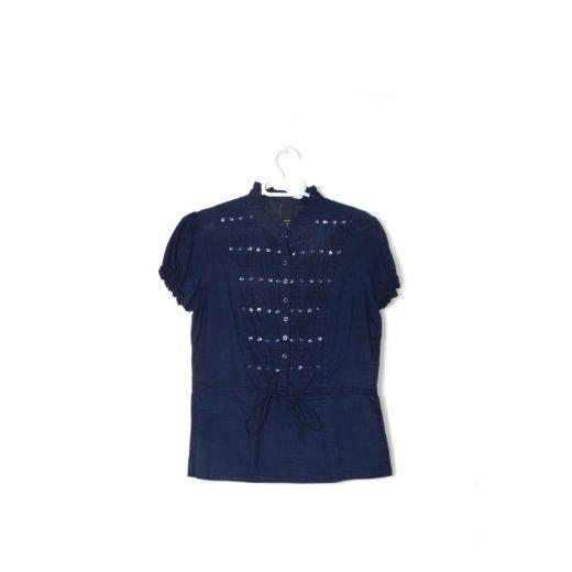 camisa azul manga corta abalorios