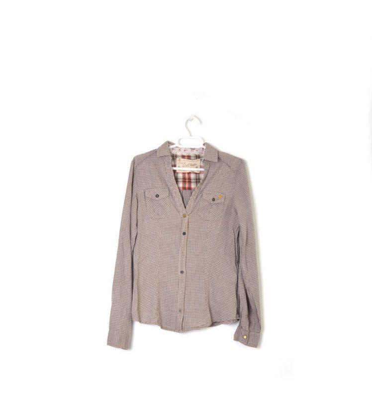 camisa cuadros marrón manga larga bershka