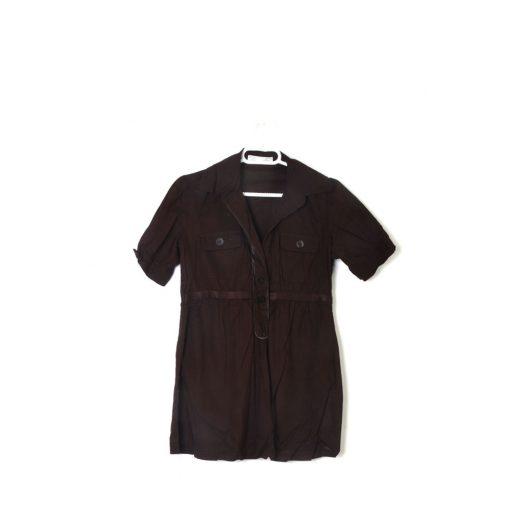camisa marrón manga corta Zara