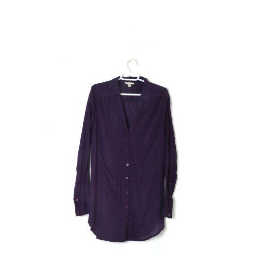 camisa larga violeta manga larga stradivarius
