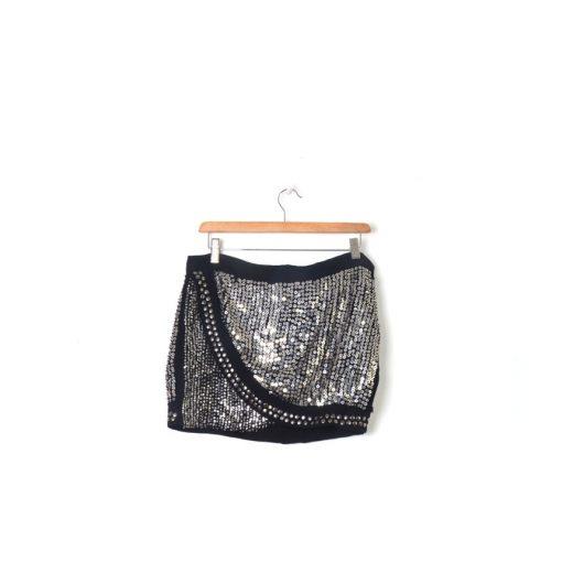 Minifalda lentejuelas negra Mango