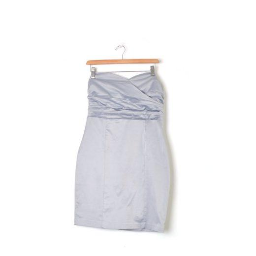 vestido corto gris palabra de honor Blanco