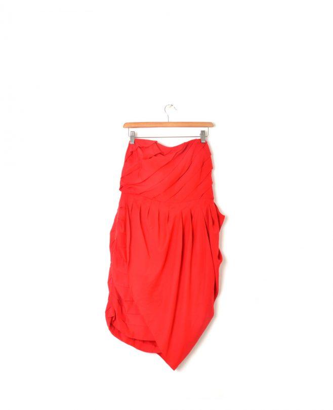 vestido palabra de honor rojo easy wear