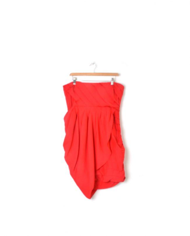 vestido palabra de honor rojo easy wear espalda
