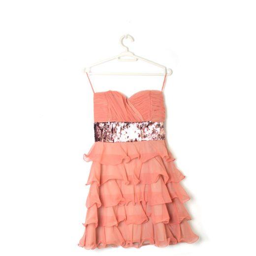 vestido coral volantes lentejuelas nuraula