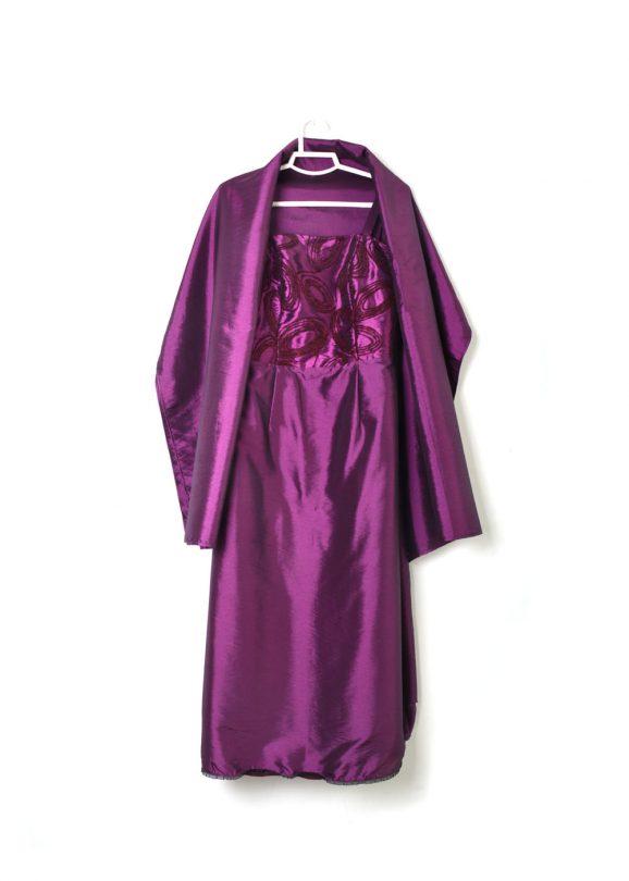 vestido fiesta morado raso señora tiras chal