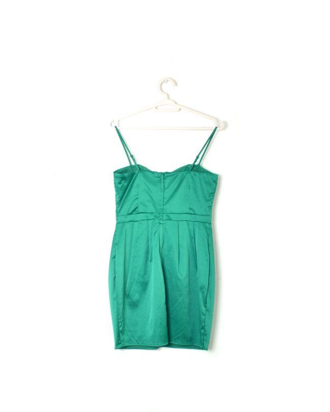 vestido fiesta tiras verde eléctrico corto espalda