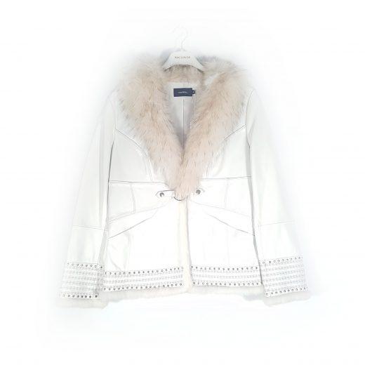 abrigo blanco piel Cortefiel