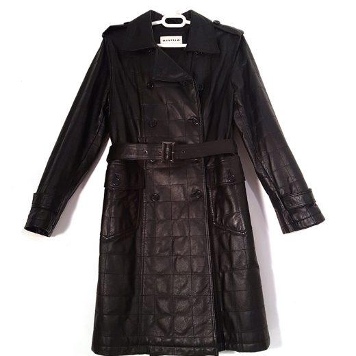abrigo negro largo piel amitié