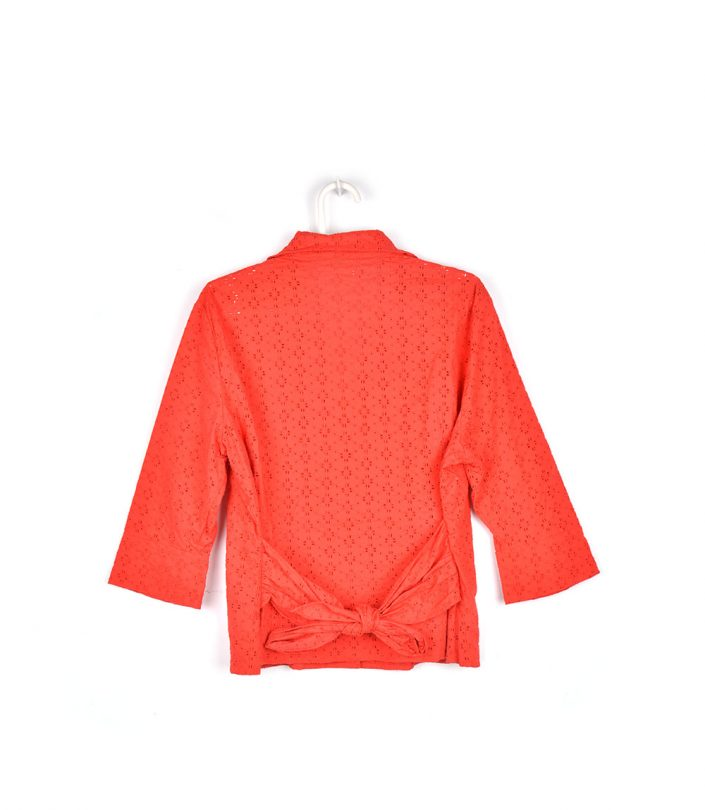 camisa roja troquelada media manga espalda cortefiel