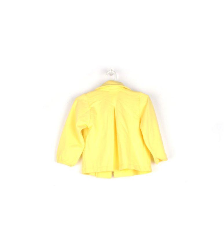 chaqueta amarilla flor y regadera infantil espalda