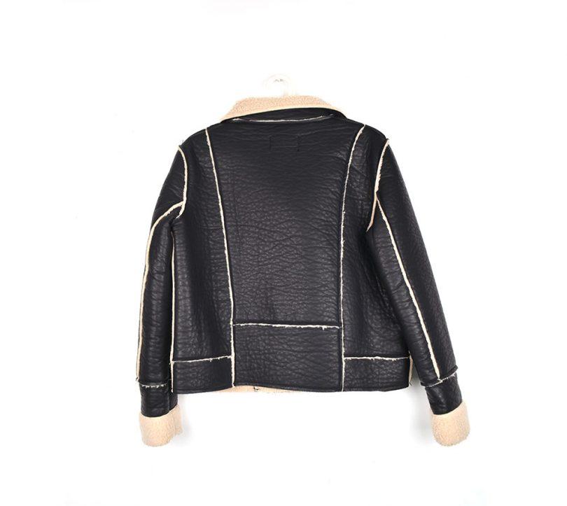 chaqueta negra borreguito mango