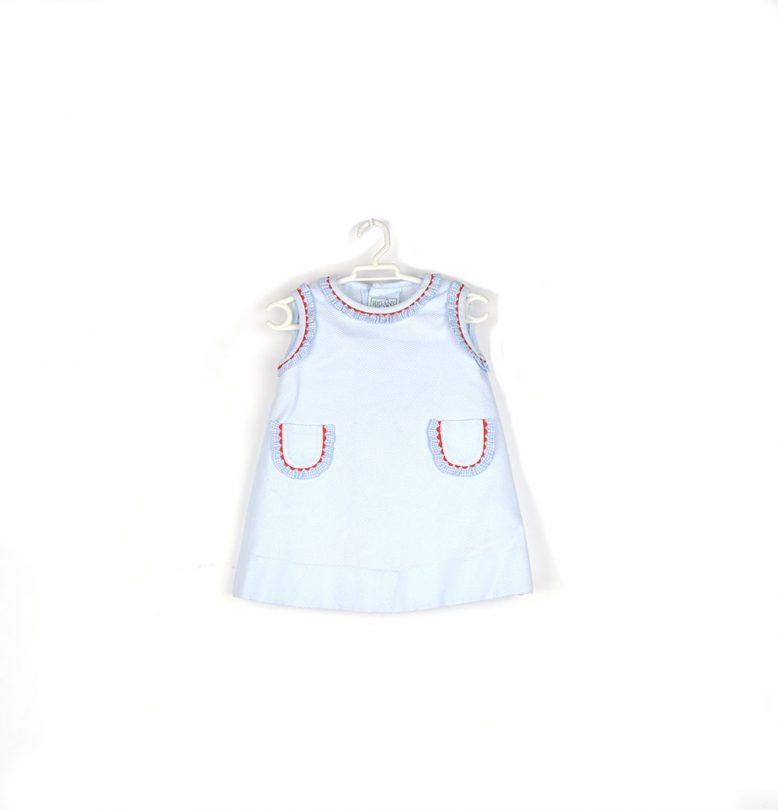 vestido azul infantil rigans