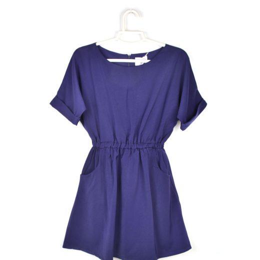 vestido azul manga corta Compañía Fantástica frente