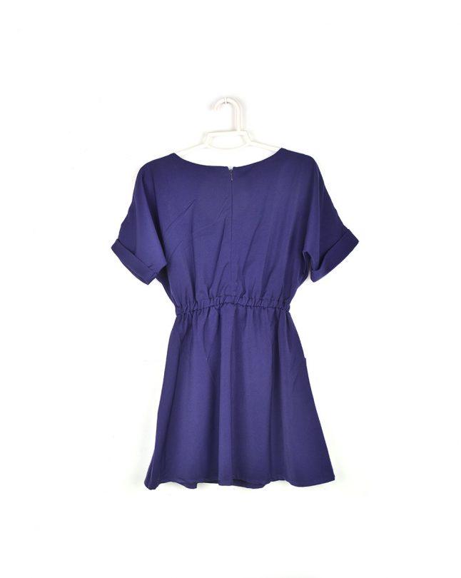 vestido azul manga corta Compañía Fantástica espalda