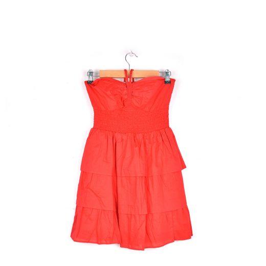 vestido corto rojo volantes cintura goma y tiras cuello Blanco frente