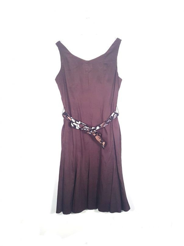 vestido tiras castaño Steilman con cinturón estampado espalda