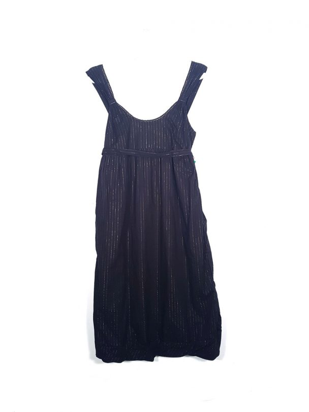 vestido negro rayas plata benetton tiras lazo bajo frente