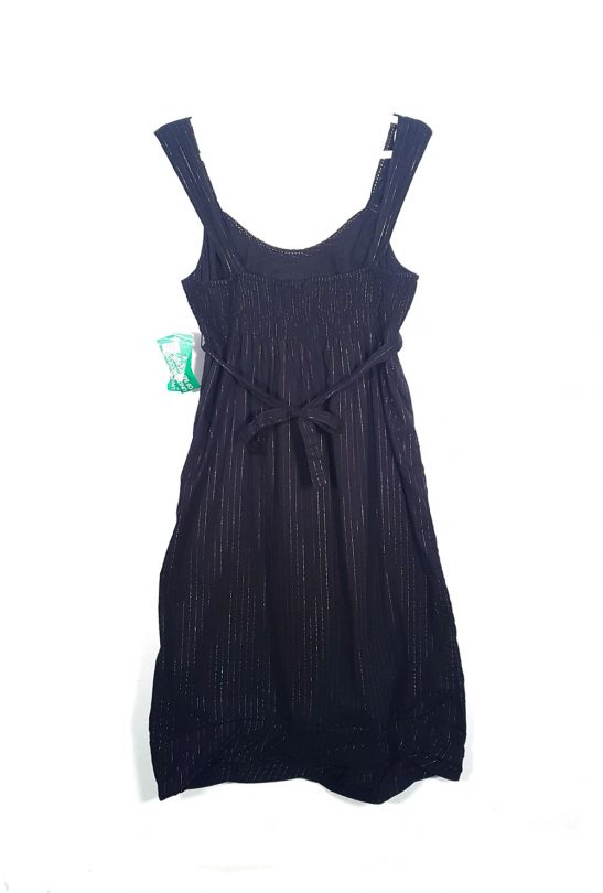 vestido negro benetton rayas plata espalda