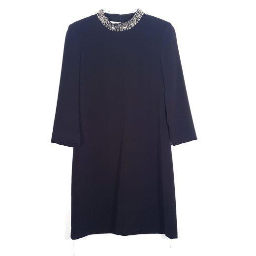 vestido negro pedrería cuello H&M