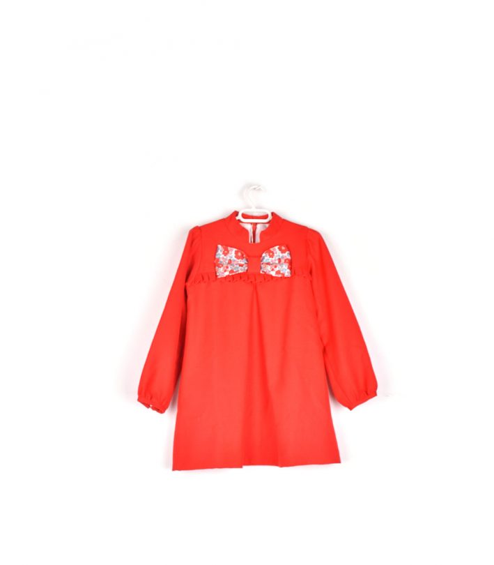vestido niña rojo lazo estampado floral FRENTE