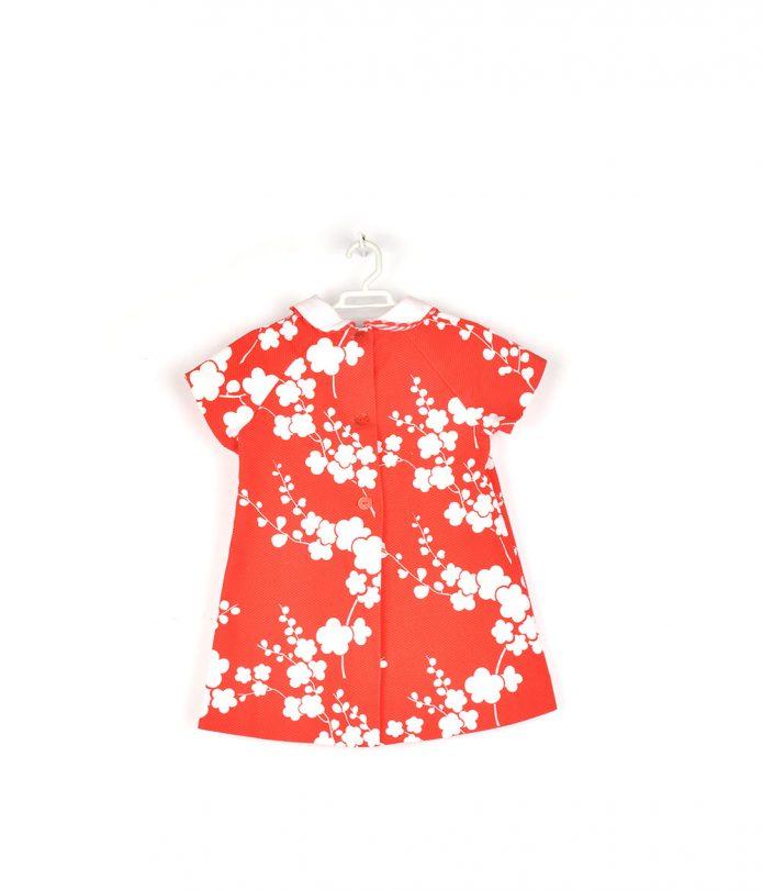 vestido rojo flores blancas niña