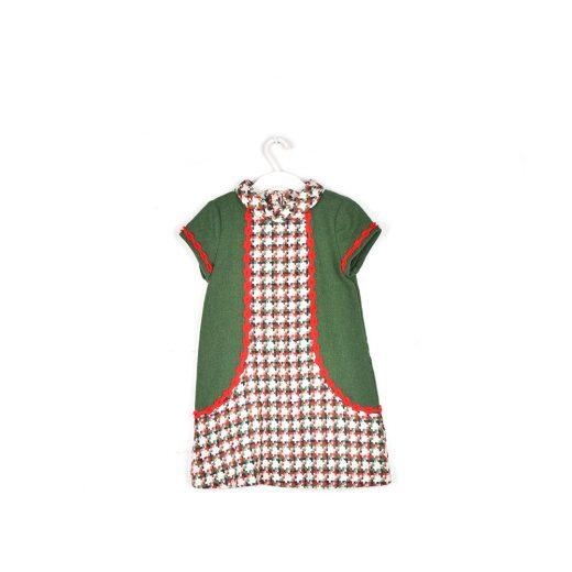 vestido verde paño niña Cocote frente