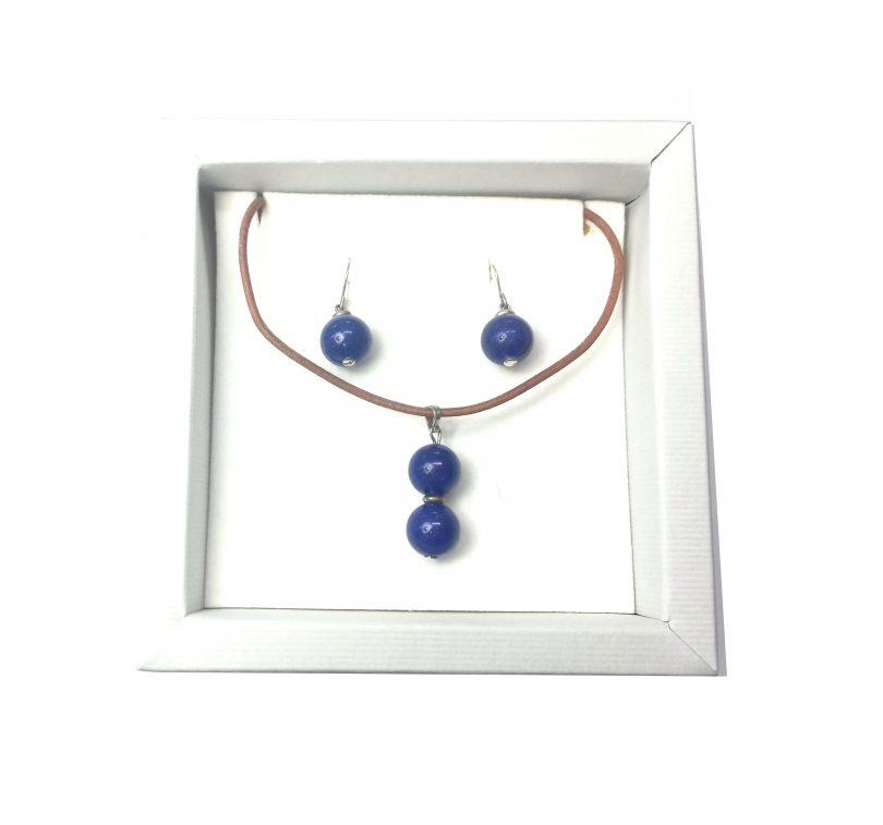 conjunto de collar y pendientes de sodalita azul de plata de ley y cuero