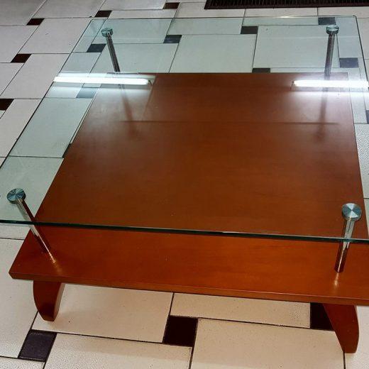 mesa de centro cristal madera