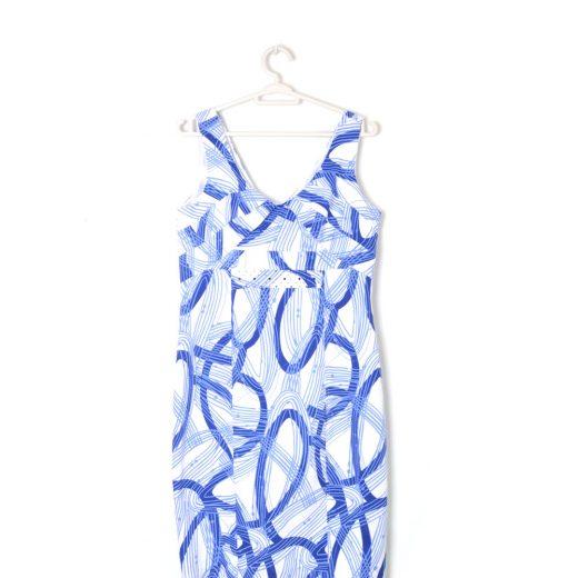 vestido azul y blanco edwars