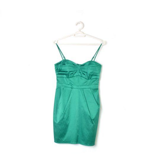 vestido tiras fiesta corto verde eléctrico H&M
