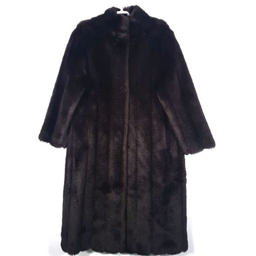 abrigo pelo sintético marrón largo