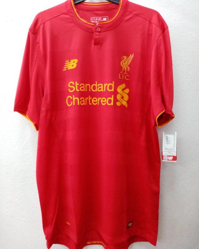 Camiseta Fútbol Liverpool 2016/2017 roja y amarilla New Balance