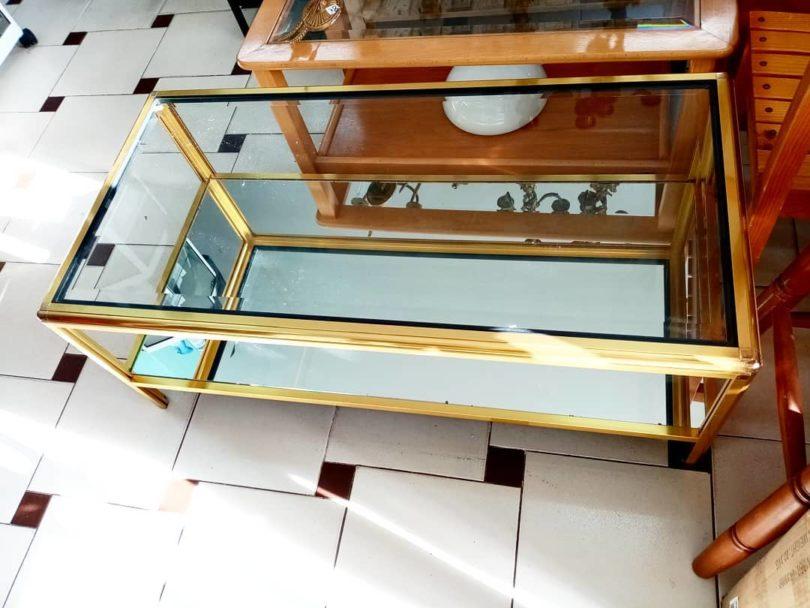 Mesa auxiliar de centro Cristal y aluminio dorado con espejo