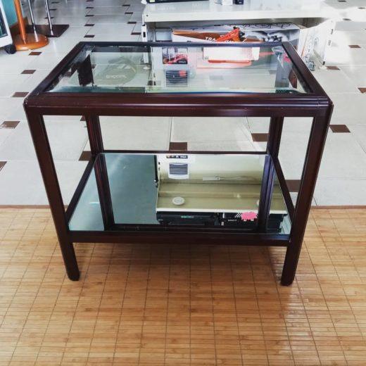 Mesa auxiliar de centro de madera y cristal con espejo estante inferior