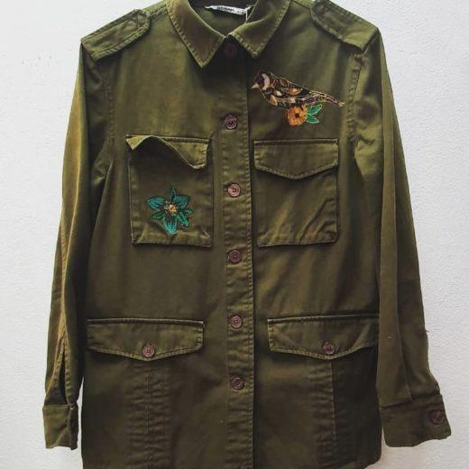 Cazadora Verde Militar Zara