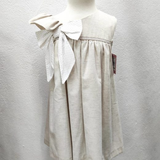 Vestido Infantil Beige Lazo Yoedu