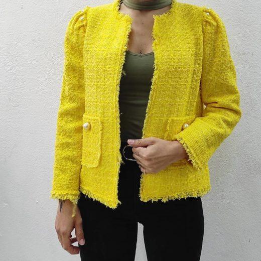 Chaqueta Amarilla Perlas Zara